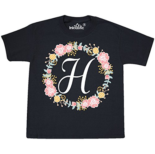 (inktastic - H Monogram Alphabet Youth T-Shirt Youth X-Small (2-4) Black 309b4)