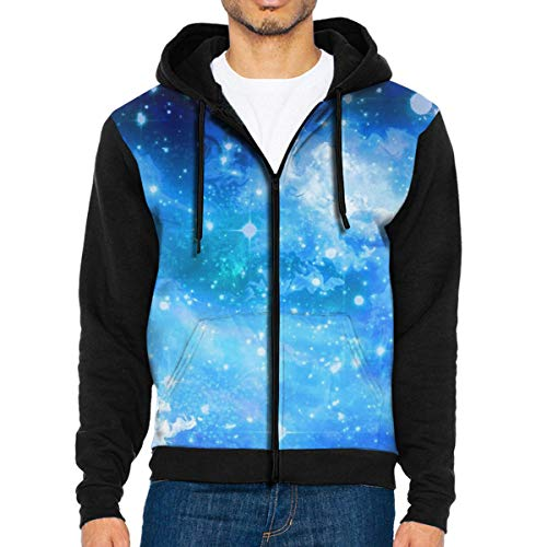 (AA WIU Blue Galaxy Sky Fashion Hoodie Sweatshirts Workout Pullovers with Pockets Fleece for Men)