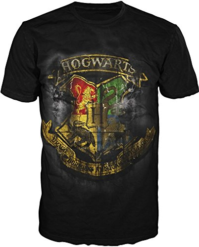 Harry Potter Deathly Hollows Distressed Hogwarts Crest Adult T-shirt XL Black