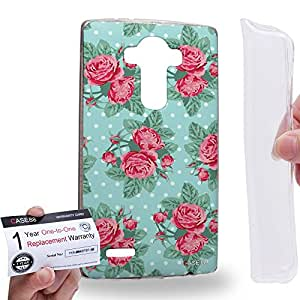 Case88 [LG G4] Gel TPU Carcasa/Funda & Tarjeta de garantía - Art Drawing Fashion Roses In Blue Floral Pattern Art1408
