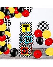 صناديق بالونات لأعياد ميلاد سباق سيارات السباق بما في ذلك مجموعة صناديق حفلات السباق ، بالونات لاتكس حمراء وصفراء وأسود لاثنين من لوازم حفلات أعياد الميلاد السريعة الثانية بأعلام متقلب خلفية مفضلة