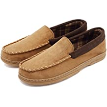 CIOR FANTINY Men's Casual Pile Lined Slip On Moccasin Flats Slippers Micro Suede Indoor Outdoor Rubber Sole