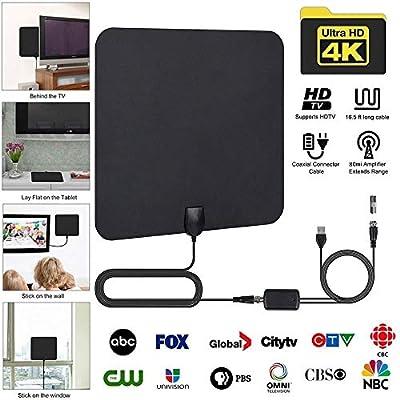 HDTV Antenna, 80-120 Miles Indoor HDTV Antena Digital TV Antenna + Signal Amplifier Booster VHF UHF Cable TV Surf Fox Antenas TV Radius Antennas DVB-T/T2 - Updated 2018 Version
