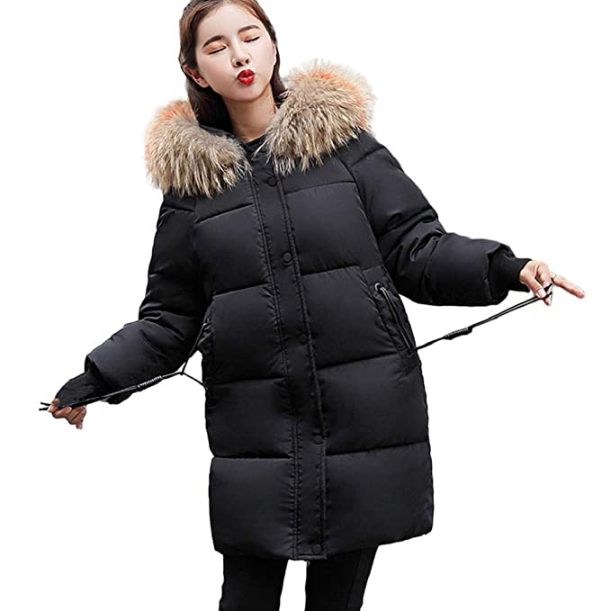08563f1eec3 vpass Women Down Coat with Fur Hood Casual Quilted Winter Warm Slim  Overcoat Fur Puffer Hooded Long Parka Outerwear Jackets Pocket Elegant  (Part Plus ...