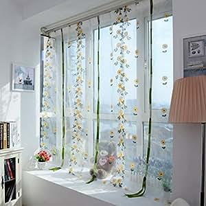 peyan Pastoral Daisy impresión levantamiento de tul cortina ventana Valance balcón SHEER