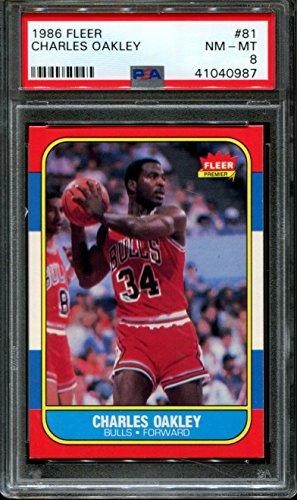1986 FLEER #81 CHARLES OAKLEY RC BULLS PSA 8 K2305043-160
