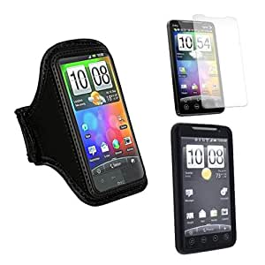 Skque Black Sport Armband Case + cLear Screen Protector + Black Silicone Case Cover for HTC EVO 4G Android Phone