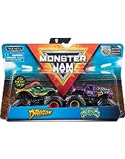 Monster Jam Original Monster Jam tvåpack med autentiska monster lastbilar i skala 1:64 – med färgskiftande effekt (sortering med olika mönster, slumpmässigt urval)