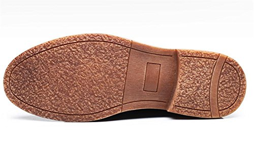 Hombres Oxfords Cuero Zapatos Negocio Casual Encajes Pisos Retro Negro gris Black