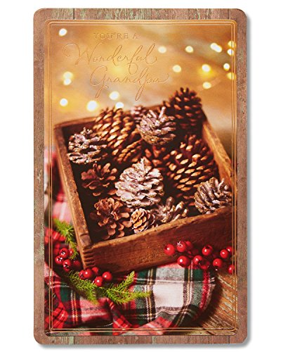 American Greetings Pine Cones Christmas Card for Grandpa with Foil