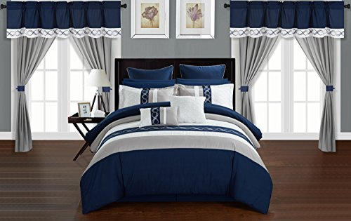 Chic Home Shilo 24 Piece Comforter Set Color Block Embroidered Design Complete Bed in a Bag Bedding – Sheets Bed Skirt Decorative Pillows Shams Window Treatments Curtains Included, King Navy ()
