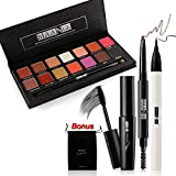 MAANGE 14 Colors Eyeshadow Palette with Matte and Shimmer Eyeliner Pen Eyebrow Pencil with Eyebrow Brush Eyelash Mascara 4 in 1 Set for Create Perfect Eye Makeup and Bonus Makeup Bag