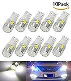 JKLcom T10 194 LED Light Bulbs 5630 6SMD LED T10 Wedge 194 168 2825 W5W 175 White Light Car Lights Bulb Interior Lights Car Tail light Parking Dome Door light,Pack of 10