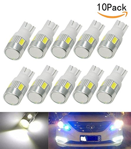 JKLcom T10 194 LED Light Bulbs 5630 6SMD LED T10 Wedge 194 168 2825 W5W 175 White Light Car Lights Bulb Interior Lights Car Tail light Parking Dome Door light,Pack of 10 by JKLcom