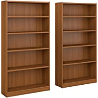 Bush Furniture Universal 5 Shelf Bookcase Set of 2 in Royal Oak