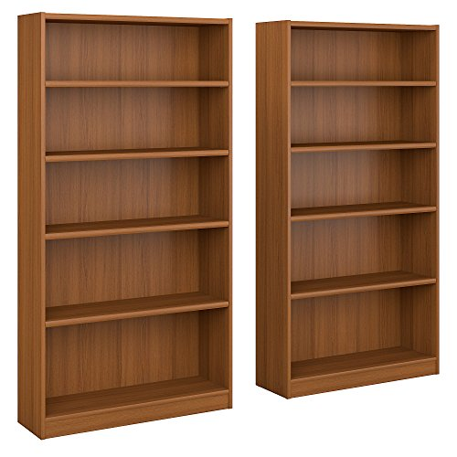 Universal 5 Shelf Bookcase Set of 2 - Oak Tall Bookcase
