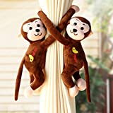 Wazonton Curtain Tiebacks, Cute Monkey Curtain Holdback Tie with Strong Magnetic Home Decorative Curtain Draper Holder1-Pair (Deep Brown)