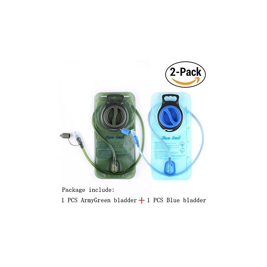 Baen Sendi Hydration Bladder 2 Liter/70 oz Pack of 2(1 Piece Blue+1 Piece ArmyGreen) BPA Free Hydration Pack Replacement, for Hiking Biking Climbing Cycling Running (2 Pack)