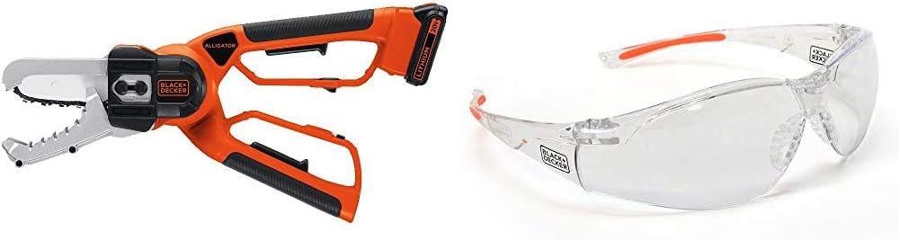 BLACK+DECKER 20V MAX Cordless Chainsaw, Alligator Lopper with Safety Eyewear, Lightweight, Clear lens (LLP120 & BD250-1C)