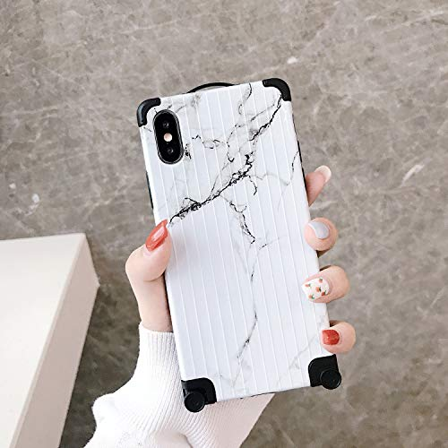 Fusicase for iPhone Xs Max Case Cute 3D Suitcase Design Marble Case Vertical Stripe Protective Cover with TPU Bumper Ultra-Thin Slim Anti-Scratches Shockproof Case for iPhone Xs Max -