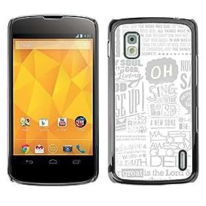 KOKO CASE / LG Google Nexus 4 E960 / anuncio en el periódico arte del cartel cita cantar dios / Delgado Negro Plástico caso cubierta Shell Armor Funda Case Cover