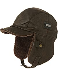 Aviator Hat Faux Leather Pilot Cap Adult Men Winter Trapper Hunting Hat