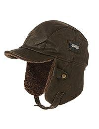 Siggi Unisex Pilot Hat Aviator Cap Leather Adult Brown Mens Women Winter Trapper Hunting Hats