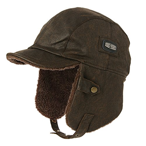 SIGGI Pilot Cap for Men Winter Aviator Hat Adult Brown Leather Trapper Trooper Hats Large XL