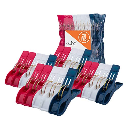 Beach Chair Towel Clips Clamps – 20 Pack Pool Towel Holder and Large Plastic Clamp – Red, White and Blue Jumbo Clothespins and Towel Pegs – Heavy Duty Clips for Laundry, Beach, Pool or Cruise Sh