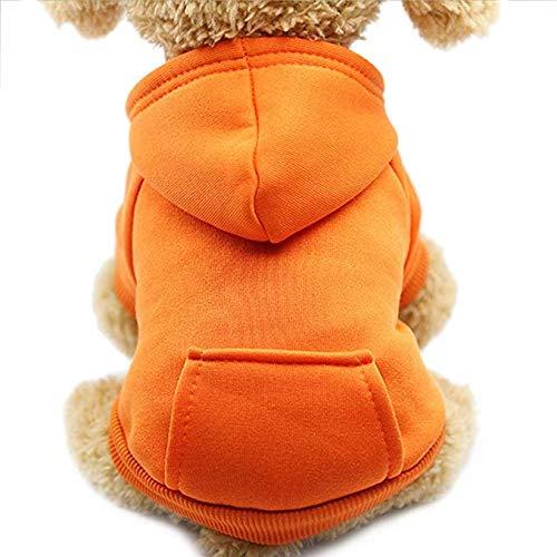 Idepet Sweat à capuche chien chat Manteau chaud hiver hiver pour animaux de compagnie Vêtements de chien en coton de couleur unie avec poche Combinaison de chien en plein air pour chiot de petits chiens