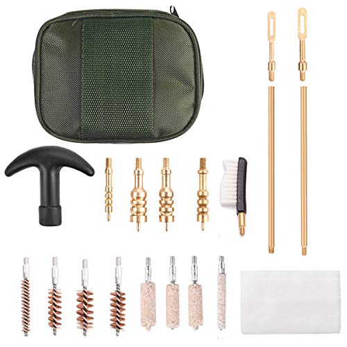 (NIDAYE Universal Pistol Handgun Cleaning kit - 20 Pieces Gun Cleaning Kits with .22.357.38,9mm.45 Caliber Bronze Bore Brush/Swabs/Rods/Patch Holder Brass Jags in Carrying Case)
