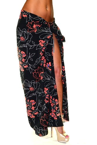 Dolce & Gabbana Beach Wrap Pareo Orange/Black Floral C04W Size OS