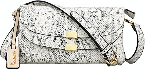B BRENTANO Vegan Fashion Double-Flap Wristlet Clutch Crossbody Handbag (White Snake(N))