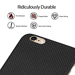 iPhone 6 plus/iPhone 6s plus Case, PITAKA [Aramid Fiber] Ultra Slim 0.65mm Phone Case for iPhone 6 plus/iPhone 6s plus(5.5 Inch) -Black/Grey(Plain) [with Premium Tempered Glass Screen Protector]