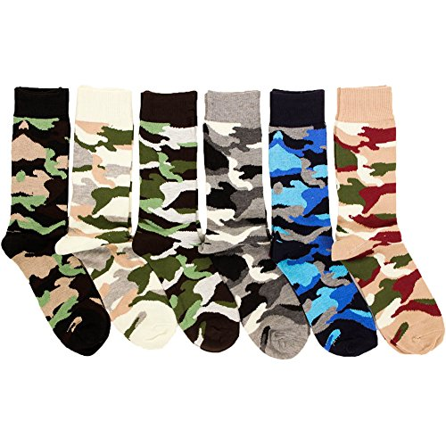Freedom Men's 6 Pack of Colorful Fashion Dress Socks-Camo
