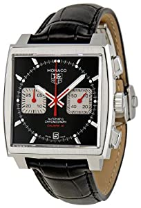 TAG Heuer Men's CAW2114.FC6177 Patent Leather Analog with Black Dial Watch