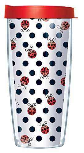 Ladybug Dots 16 Oz Traveler Tumbler Mug with Lid
