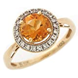 10k Two-Tone Real Citrine and White Sapphire Ladies Must Have Halo Ring