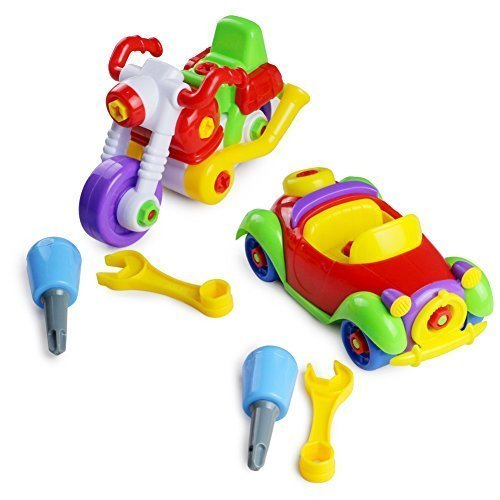 Take-A-Part Toys Assemble Car and Motorcycle 2 Sets Construction Educational Toy for Kids 3 4 5 Years Old