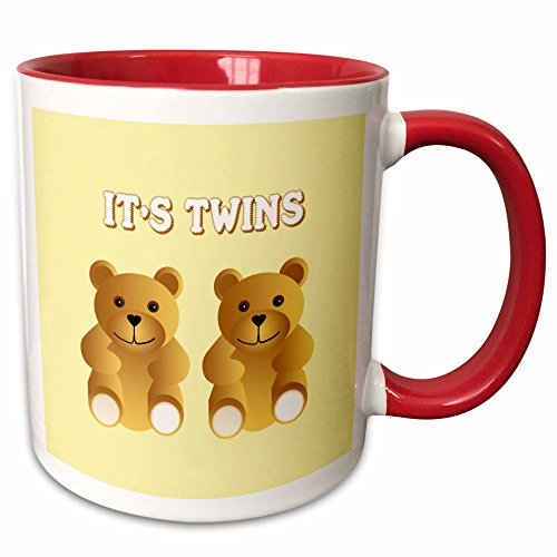 3dRose 777images Patterns for Kids - Its twins. Two brown teddy bears announce the new arrivals. - 15oz Two-Tone Red Mug (mug_165753_10)