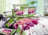 Beddinginn Pink Flowers Green Leaves 400-thread-count Cotton 4 Pieces 3d Bedding Sets,king Size (Twin) offers