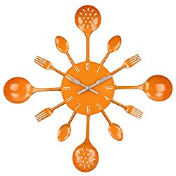 Timelike Wall Clock, 16 Metal Kitchen Cutlery Utensil Spoon Fork Wall Clock Creative Modern Home Decor Antique Style Wall Watch (Orange)