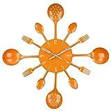 Timelike Wall Clock, 16' Metal Kitchen Cutlery Utensil Spoon Fork Wall Clock Creative Modern Home Decor Antique Style Wall Watch (Orange)