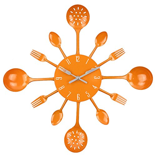 "Timelike Wall Clock, 16"" Metal Kitchen Cutlery Utensil Spoon Fork Wall Clock Creative Modern Home Decor Antique Style Wall Watch (Orange)"