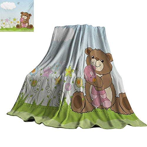"RenteriaDecor Kids,Baby Blanket Cartoon Style Cute Teddy Bear with Toy in Meadow Swirled Flowers Butterfly and Cloud Throw Rug Sofa Bedding 50""x30"""