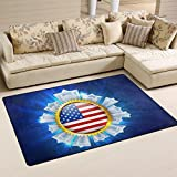 Custom American Flag July 4th Independence Day Badge Area Rug Runner Non-Skid Floor Mat Doormats for Living Room Bedroom 3'3″x5′ Home Decor Review