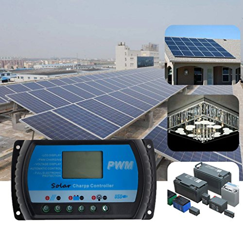 Amrka USB 10A/20A/30A Solar Panel Charge Controller 12V/24V