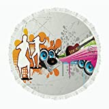 """iPrint 104"""" Round Polyester Linen Tablecloth,Grunge,Music People with Turntable and Speakers Dancing Funky Urban Nights Guitar Print,Multicolor,for Dinner Kitchen Home Decor"""
