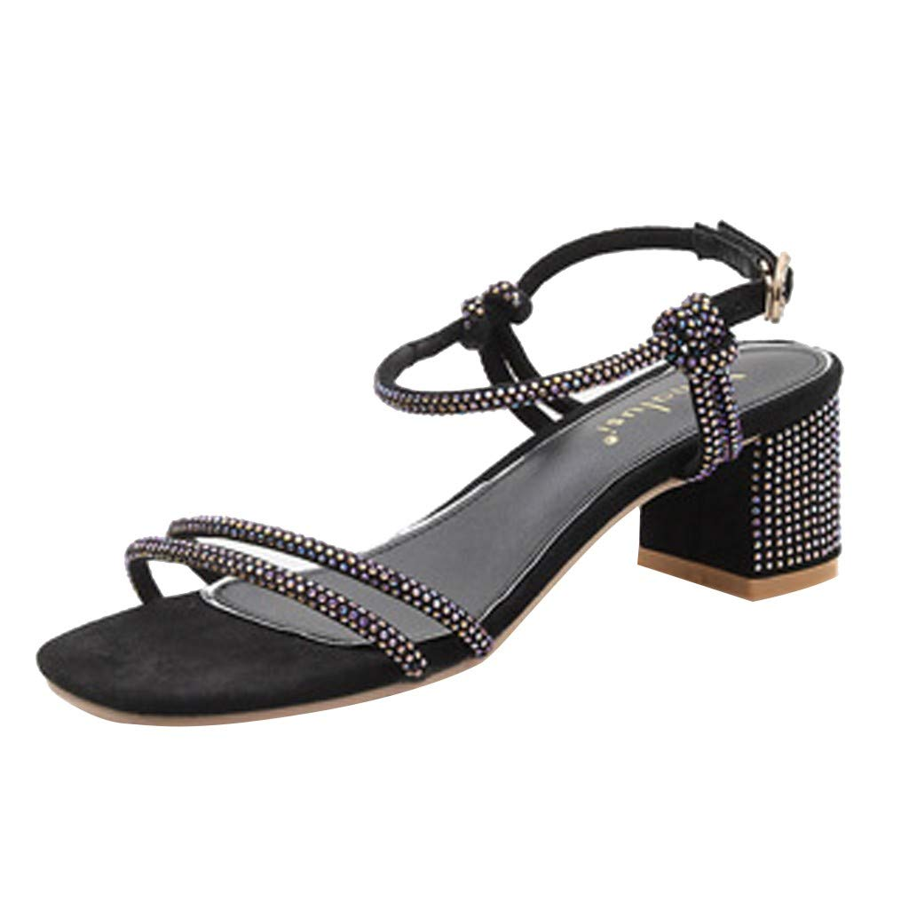 LIM&Shop Tie Up Ankle Strap Flat Sandals for Women Open Toe Rhinestone Flip Flop Strappy Shoes Buckle Sandals Black