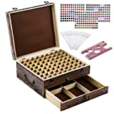 #8: Rustic Essential Oil Wooden Storage Box - with 72 Slots for 5, 10, 15ml Bottles, Rollers & Droppers, Essential Oils Wooden Case Perfect for Display & Presentation - Includes Oils Label, Bottle Opener
